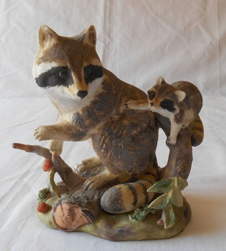 Vintage Lefton China Raccoon Figurine Mother Baby 2149 Signed MR