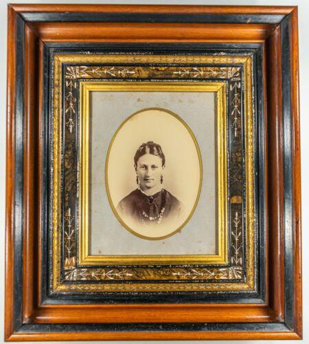 Victorian EASTLAKE Walnut Gilt GOLD Black Carved Frame