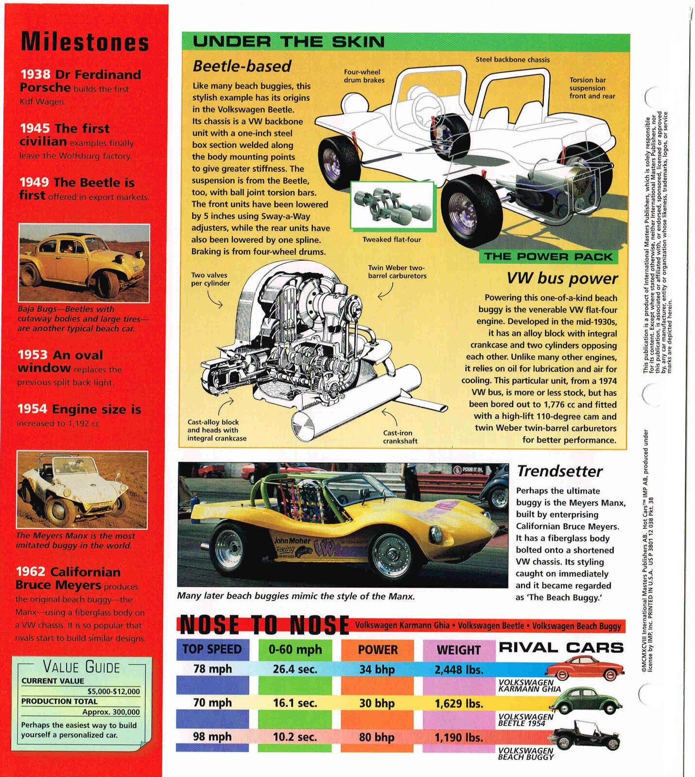 1967 VW DUNE BEACH BUGGY SPEC SHEET/Brochure: HUSTLER - EUR 11,46   PicClick DE
