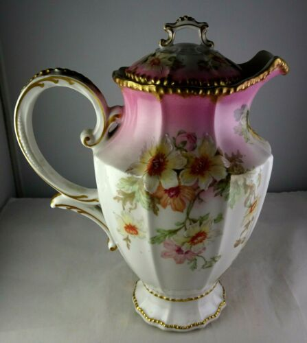 Antique Porcelain Elite Limoges Coffee Pot Floral Pink & Gold
