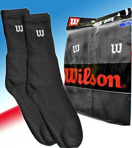 Wilson Crew Socks - Size 6-11 (UK) - 39-46 (Eur) - 10 Pair Pack - Black