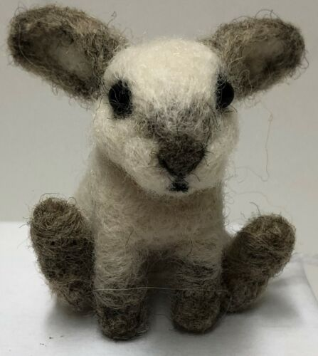 Original One Of A Kind Firm Needle Felted Easter Rabbit
