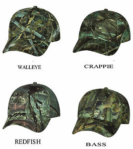 Camouflage-Hunt-Bass-Walleye-Crappie-Redfish-Baseball-Hat-Camo-Fishing-Cap-fsh10