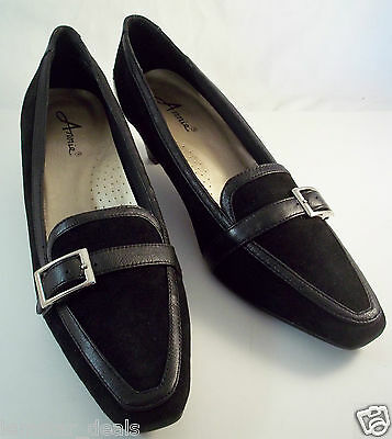 Annie ADELE Black Leather Suede Heels Pumps Size 9 1/2 M NIB Style # 32602 ()