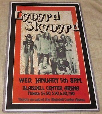 LYNYRD SKYNYRD 1977 BLAISDELL CENTER REPLICA CONCERT POSTER W/SLEEVE