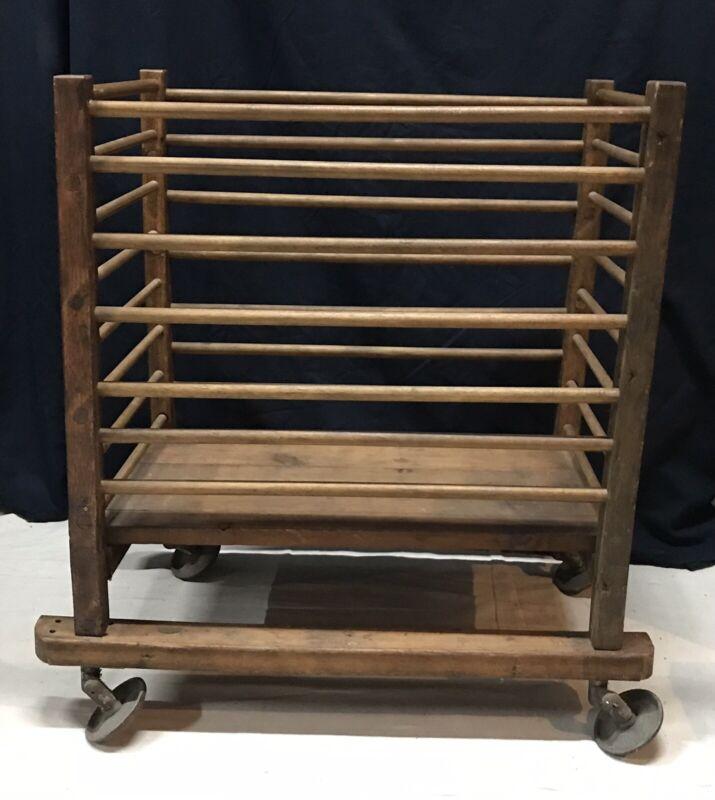 Vtg Antique Rare Industrial Shoe Factory Rolling Cart Rack Mill Cast Wheels Orig