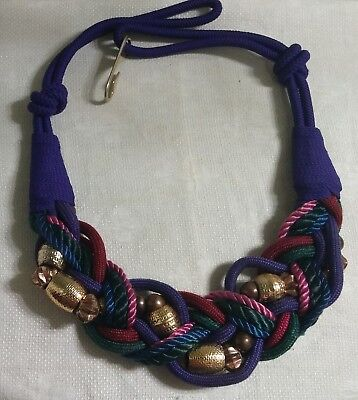 Vintage Chunky GT Metal Purple Red Green Blue Braided Beaded Cord 31