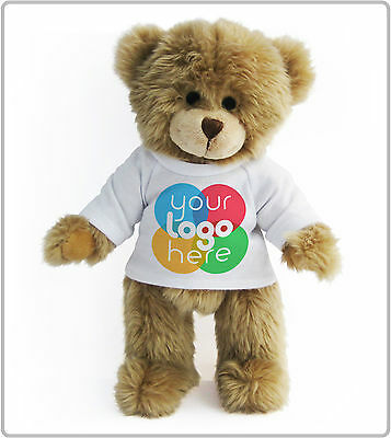 PERSONALISED PROMOTIONAL SOFT TOY CHARLES TEDDY BEAR GIFT COMPANY LOGOS PRINTED