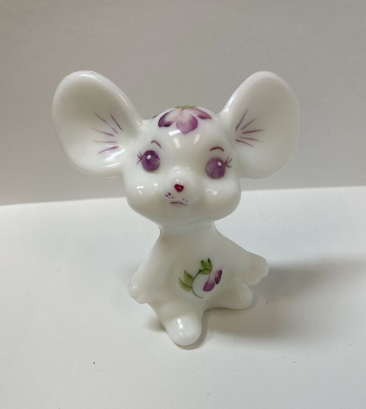 Adorable Fenton White Glass Hand Painted Signed Mouse