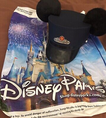 BRAND NEW Disney Conductor Hat Mickey Mouse Ears Disneyland Red Car Trolley L/XL
