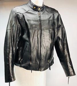 Vintage Black leather Motorcycle jacket size XL 46 mint