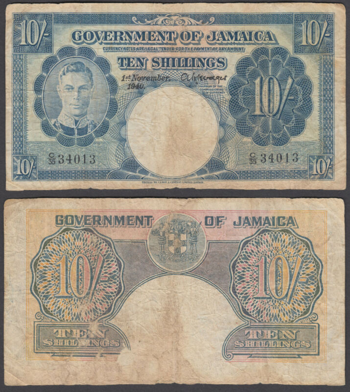 Jamaica 10 Shillings 1940 (VG-F) Condition Banknote P-38b KGVI