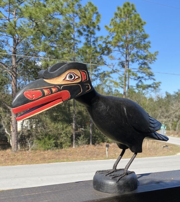 Northwest Coast Big Carved Raven Handmade!!!