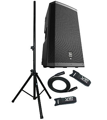 EV ZLX-15BT Active DJ 1000W PA Powered Bluetooth Amplified Speaker Stand & Cable