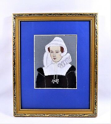 FELT COLLAGE MARY QUEEN OF SCOTS SET IN A FRAME HANDMADE NEEDLEWORK VINTAGE ()