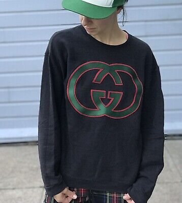 Vintage Hanes Sweatshirt w/ Large GUCCI Logo Embroidery Size Small Vtg Pullover