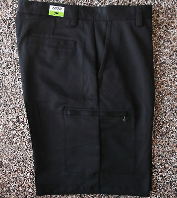 IZOD Men's Flat Front Basic Golf Cargo Short, Black, 30W