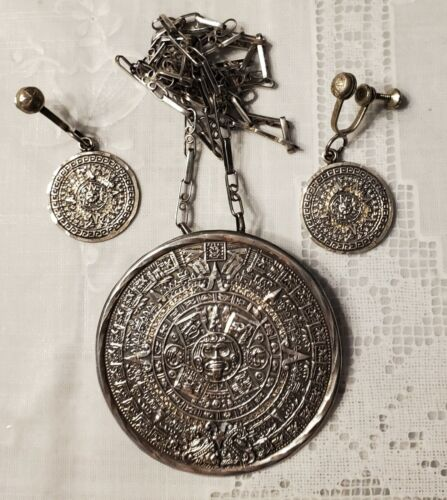 VTG Sterling Silver Aztec Calendar Medallion Mexico Eagle 83 Mark *See Photos*