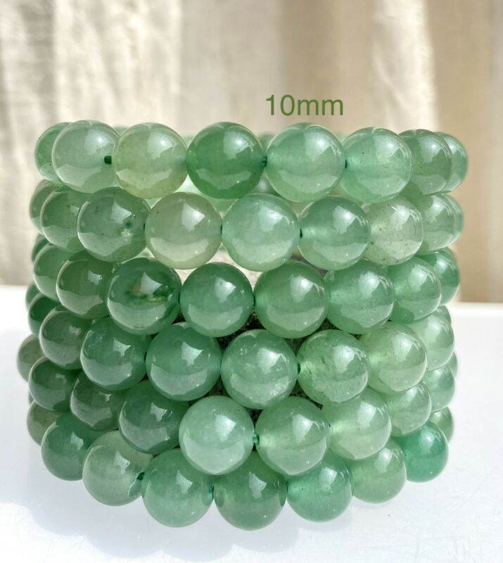 "Wholesale Lot 6 Pcs Green Aventurine 10mm 7.5"" Crystal Healing Stretch Bracelet"