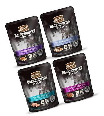 Merrick Backcountry Grain Free Protein-Rich Cat Food 4 Flavor Variety 8 Pouch...