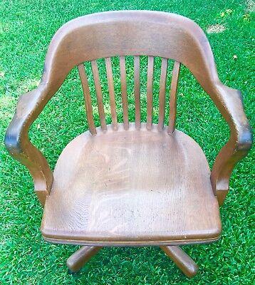 Antique Johnson Company Oak Mission Banker Office Swivel Chair Complete&Original for sale  Joshua