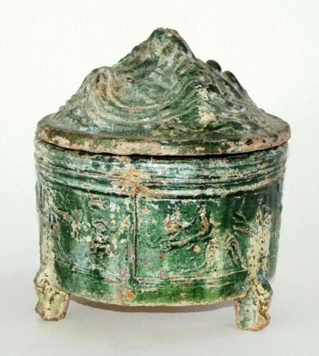 Chinese Han Dynasty Green Lead Glaze Tripod Hill Censer w. Iridescence (ZaG)