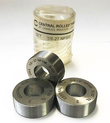 Central Rolled Thread Die Co Thread Rolls 18-27 Npsm 1l K-23 Lot Of 3