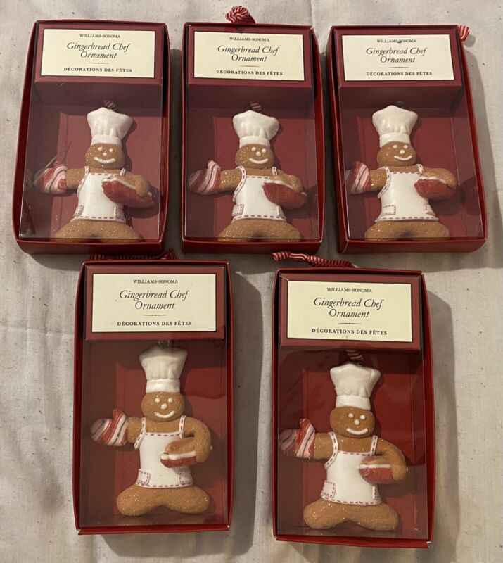Lot Of 5 Williams-Sonoma Gingerbread Chef Holding  Bread Ornament Christmas NEW