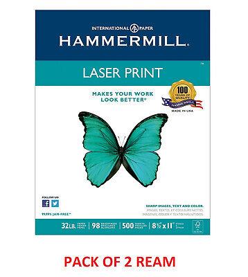 Hammermill - Laser Print Paper 32lb 98 Bright 8-12 X 11 - 1000 Sheets2ream