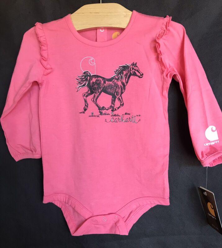 CARHARTT Pink Romper w/ Horse Flutter Long Sleeve Baby Girl Size 18 Months NEW!