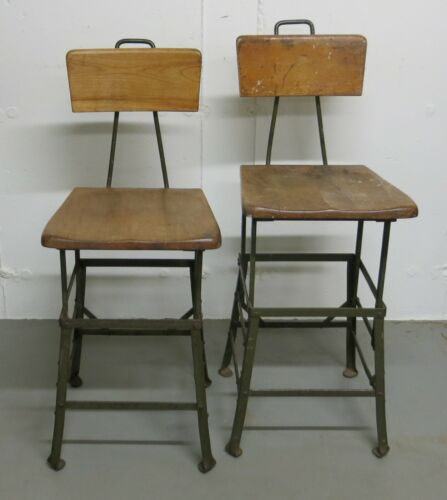 Pair of Matching Industrial Stools Angle Steel
