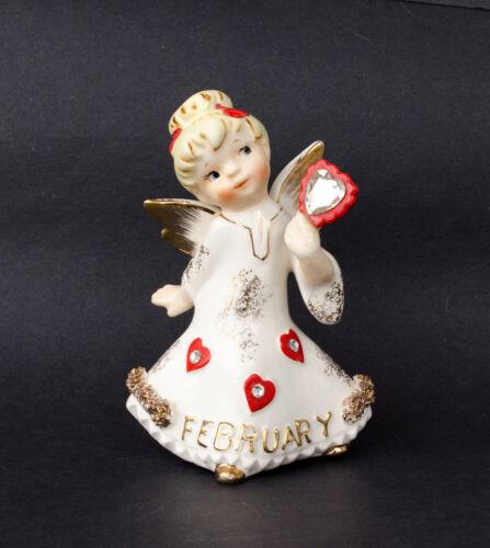 Rare Vintage Lefton 1987J February Angel Heart Rhinestone Figurine