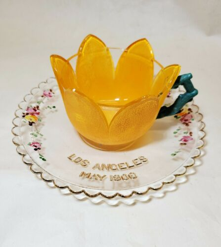 1906 Pittsburgh Syria Shriner CUP & SAUCER Antique Painted Orange Westmoreland