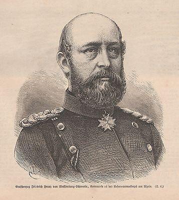 Großherzog Friedrich Franz von Mecklenburg-Schwerin HOLZSTICH von 1871