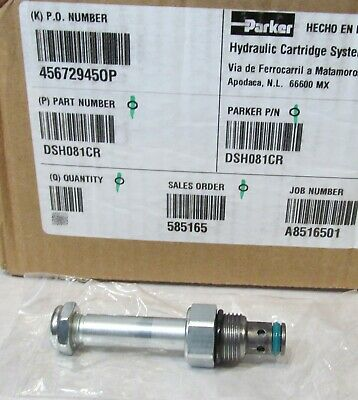 Parker Dsh081cr Cartridge For 2-way Hydraulic Solenoid Valve Size 8 Poppet Type