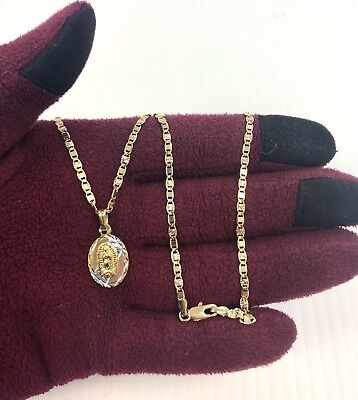 18K Gold Plated Tri Color Virgen de Guadalupe Pendant Charm & Valentino Chain