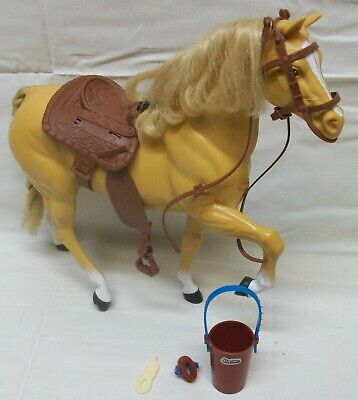 """Original 1980 Barbie Doll Golden Palomino Horse w/Saddle & Accessories 11""""-Tall"""