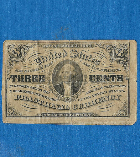 FR 1227 3  CENTS  3rd Issue FRACTIONAL CURRENCY
