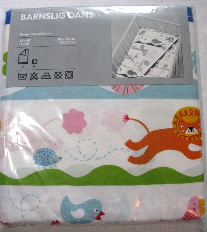 Ikea Crib Quilt Cover Barnslig Dans Baby Duvet Pillowcase 2 Pc Animal Print New
