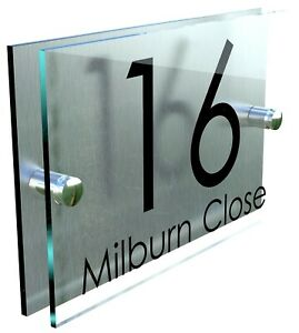 3931d6aac6bc Contemporary HOUSE SIGN / PLAQUE / DOOR / NUMBER / GLASS EFFECT ACRYLIC