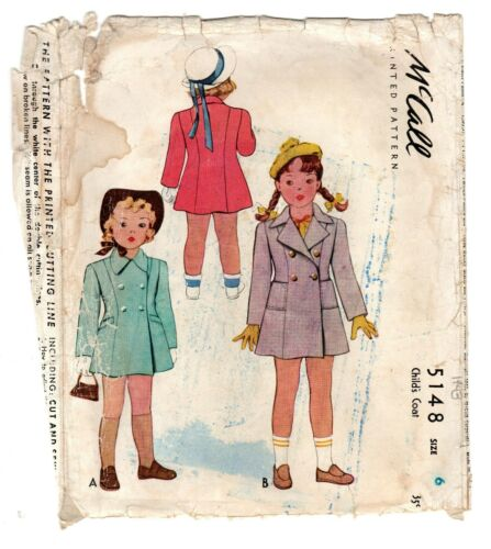 Vintage 1943 McCall 5148 Girl Size 6 Double Breasted Coat Sewing Pattern