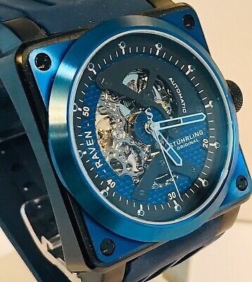 Stuhrling Raven Rebel Automatic Blue/Black/Skelenotized Square Mens Watch