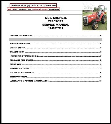 Massey Ferguson 1205 1215 1225 Compact Tractor Technical Service Repair Manual