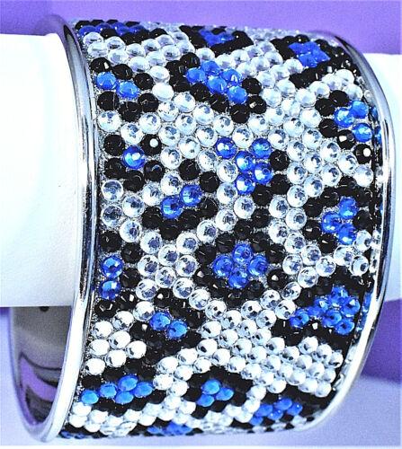 Vintage Blue Black Clear Snake Skin Jewels Silver Tone Solid Open Cuff Bracelet