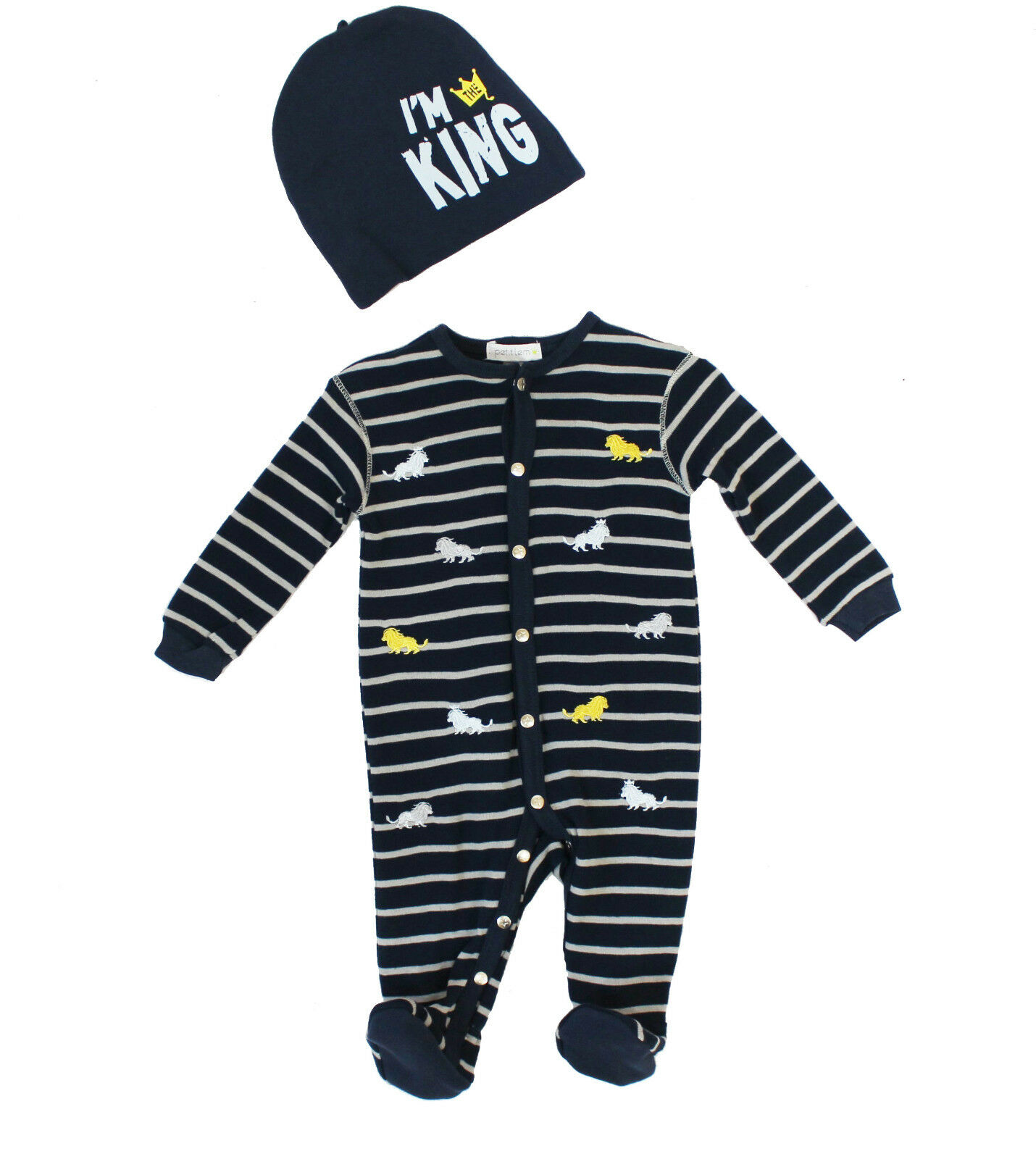NWT Petit Lem Baby Boy Hat and Embroidered Lion Footie Set ~
