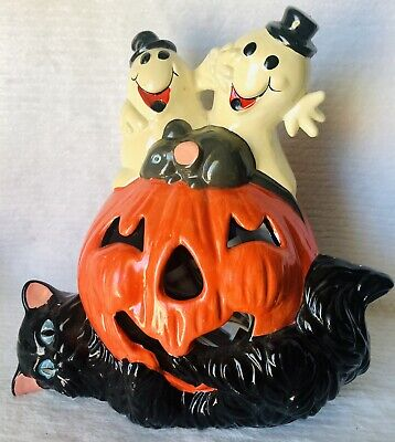 Vintage Ceramic Halloween Light Up Decoration Pumpkin Black Cat