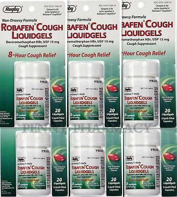 Robafen Dextromethorphan Cough Gels 8Hr Relief 20Ct     6 Pack    Limit 1   Cust