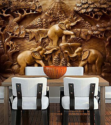 (3D wood Sculpture Elephant Wall Paper Print Decal Wall Deco Indoor wall Mural)