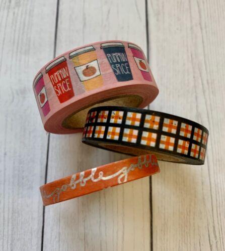 3 Rolls Fall Autumn Washi Tape Papercraft Planner Supply Splatter Plaid Coffee