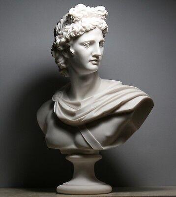 APOLLO Greek Roman God Bust Head Cast Marble Statue Sculpture Handmade 12.6΄΄